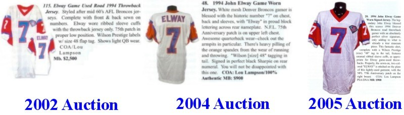 5651434de Catalog listings of three apparently different Elway road Throwback Elway  jerseys, each authenticated by Lou Lampson and offered in separate American  ...